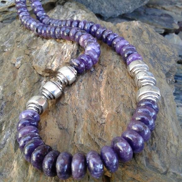 Sterling Silver Purple Jade Beaded NECKLACE